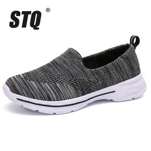 Image 2 - STQ Autumn Women Flats Woven Shoes Breathable Mesh For Ladies Loafers Shoes Women Light Weight Casual Slip On Sneaker Shoes 1938