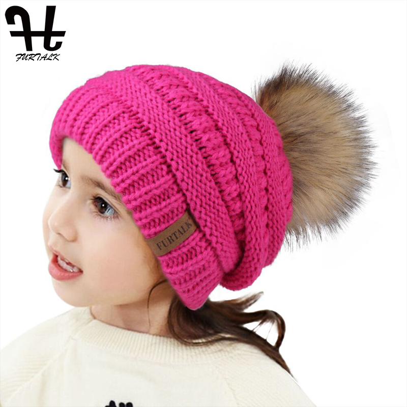 FURTALK Winter Hat Kids Boy Girls Pompom Hat Children Velvet Slouchy   Beanie   Hat Knitted Warm Baby Winter Cap for 2-10 Years