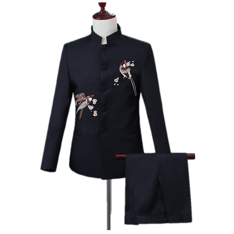 Bird And Fish Print Men's Chinese Style Suit Set (jacket+pant) Slim Stand-up Collar Black Classic Business Chinese Tunic Suit