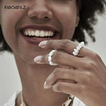 IngeSight.Z 2Pcs/Set Bohemian Personalized Simulated Pearl Rings Minimalist Elastic Adjustable Finger for Women Jewelry
