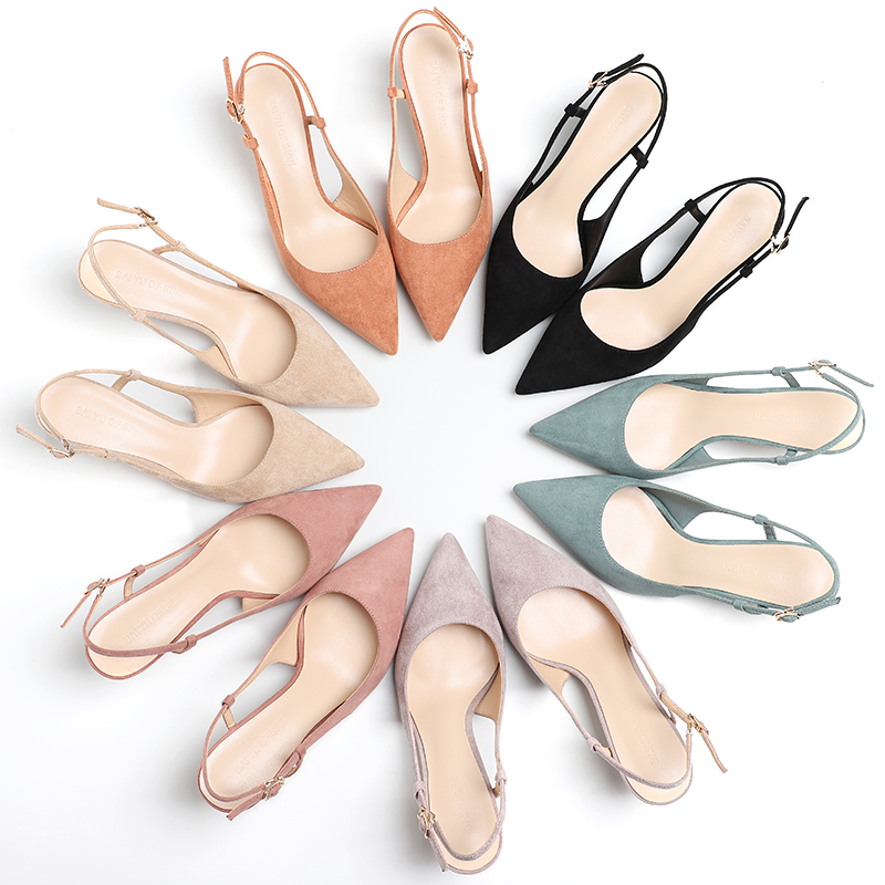 Shoes Woman 2020 Spring 6CM Thin High Heels Slingbacks Female Pointed Toe Solid Flock Women s