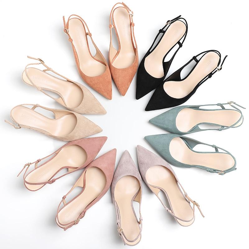 Woman's Spring 6cm Thin High Heels Slingbacks 1
