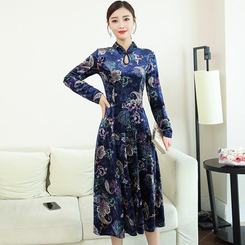 2020 Chinese Dress Elegant Women Satin Dress Qipao Dress Traditional Chinese Style Mandarin Collar Improved Cheongsam Vestidos