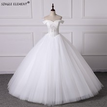Real Photo Ball Gown White Ivory Tulle Plus Size Wedding Dresses 2019 Lace Up Back