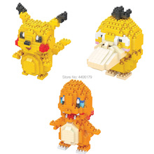 hot LegoINGlys creators hitting Nintendoes Pikachu Charmander psyduck mini micro diamond building blocks model nano bricks toys стоимость