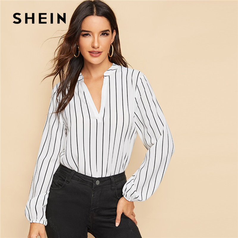 SHEIN Office Ladies V-Cut Neck Striped Long Sleeve Blouse Shirts Autumn Workwear Casual Bishop Sleeve Women Tops And Blouses