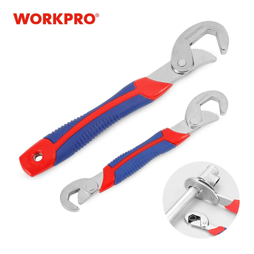 WORKPRO Adjustable Wrench Spanner Set Multi-Function Universal Quick Snap Soft Grip