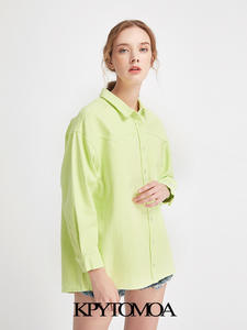 Ladies Blouses Long-Tops Women Shirts Vintage Lapel-Collar Loose Casual Streetwear Mujer
