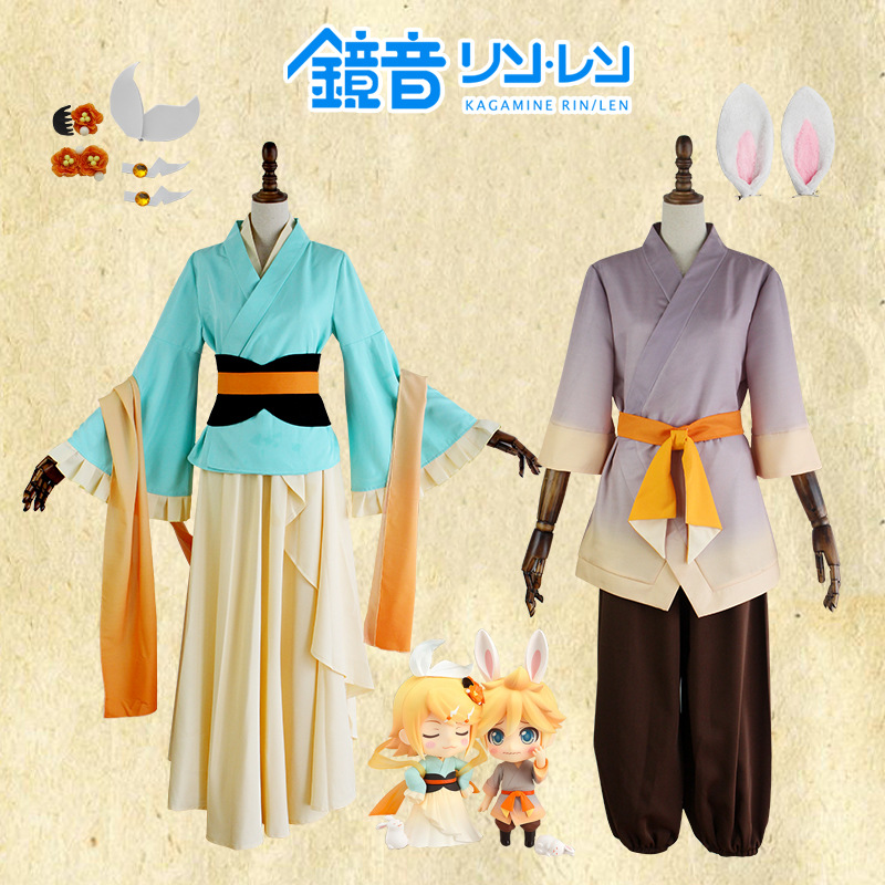 <font><b>VOCALOID</b></font> <font><b>Kagamine</b></font> <font><b>Rin</b></font> <font><b>Kagamine</b></font> Len Halloween Uniform Cosplay Complete Costumes Tops+Shorts Anime Mirror sound twin sister set image