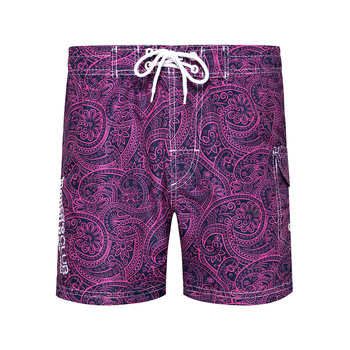 Summer Casual Mens Beach Shorts Loose-Fit Surfing Shorts Straight-Cut Shorts Men's New Style Printed Board Shorts 8