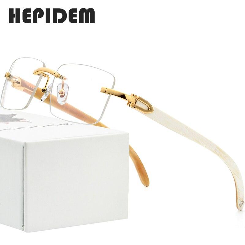 Buffalo Horn Glasses Frame Men Square High Quality Women Rimless Prescription Eyeglasses 2019 Optical Frames Eyewear 8100907