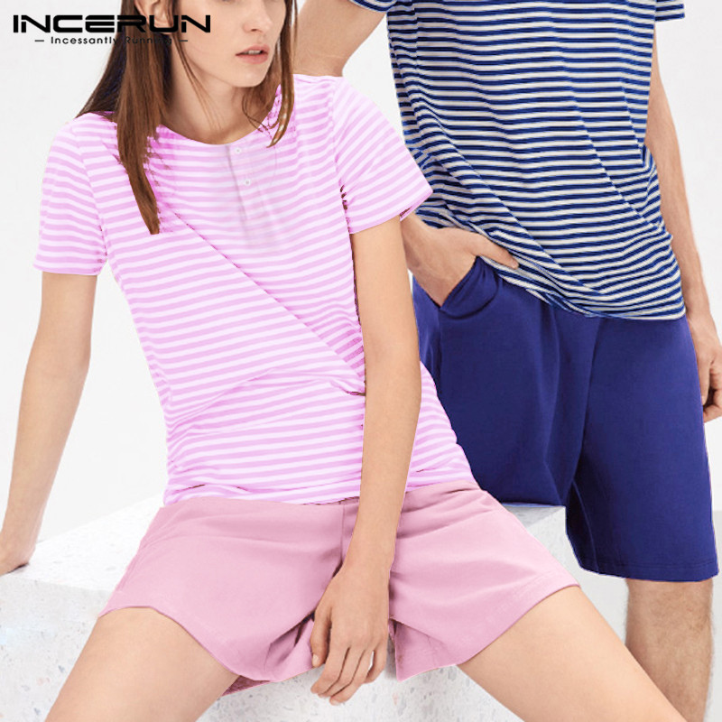 Men Pajamas Sets Short Sleeve Striped Tops Solid Shorts Homewear Unisex Women Nightgown Soft Loose Couple Sleepwear Sets INCERUN