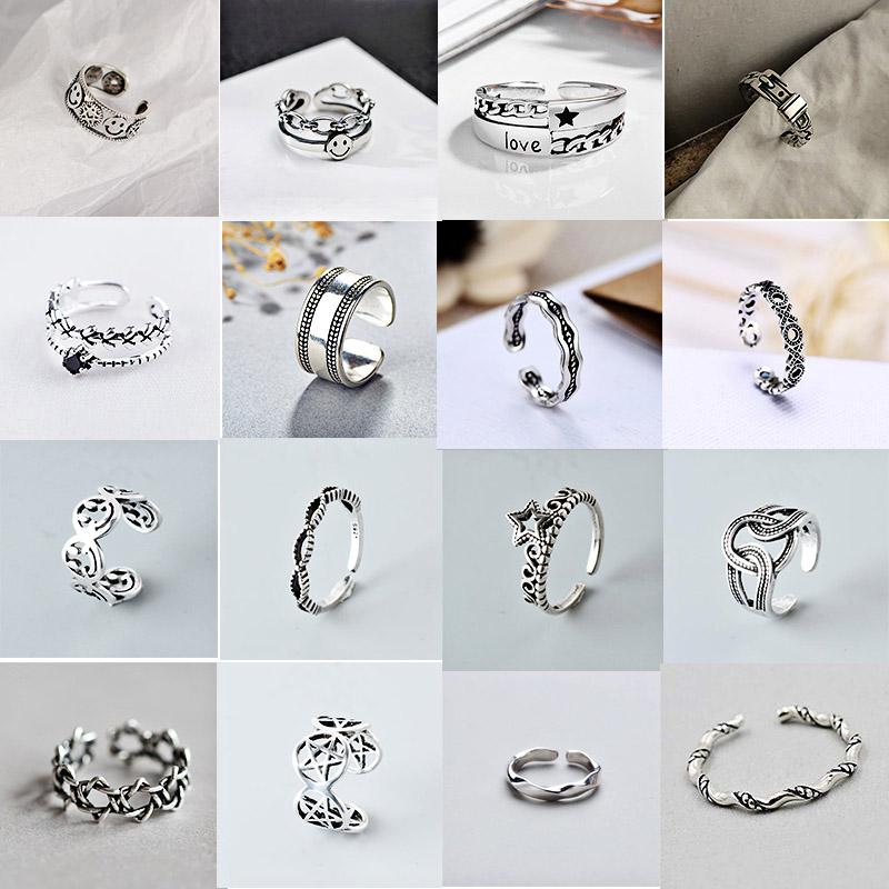 XIYANIKE 925 Sterling Silver Fashion Vintage Opening Rings For Women Size 16mm-18mm Adjustable Geometric Handmade Party Jewelry