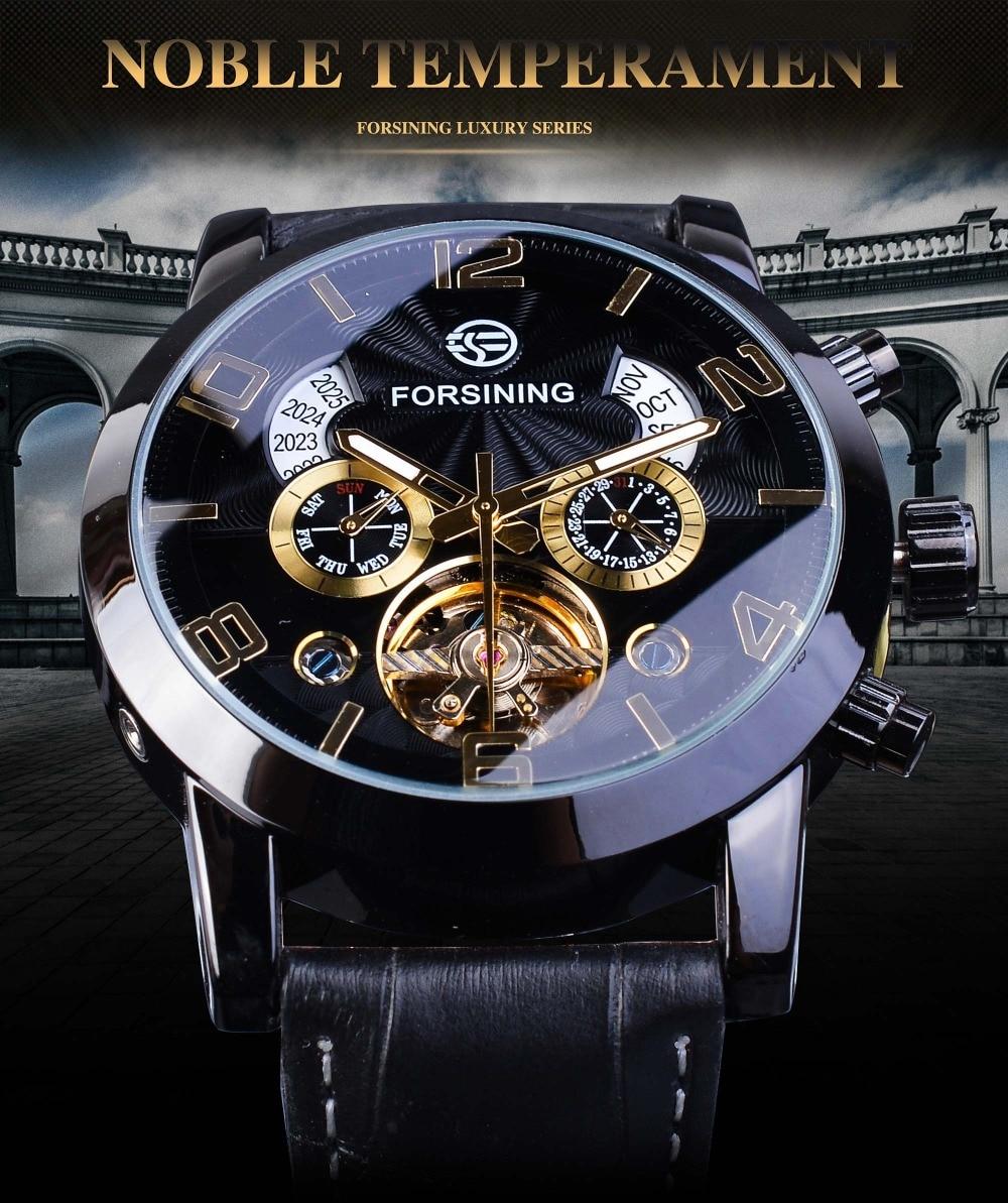 H7224b11184de4909a1115b321678a3a4T Forsining Tourbillion Fashion Wave Black Golden Clock Multi Function Display Mens Automatic Mechanical Watches Top Brand Luxury