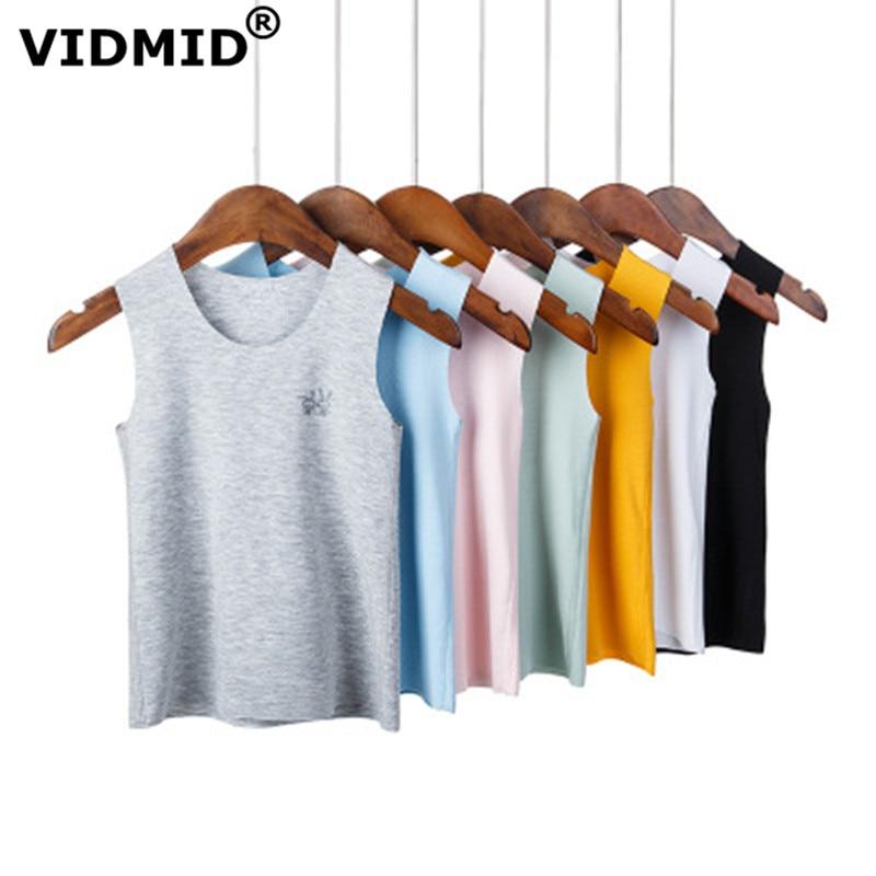 VIDMID Baby boys girls summer sleeveless t-shirt vests tops tees boys beach cotton girls kids Children's traceless vests 7128 01 1