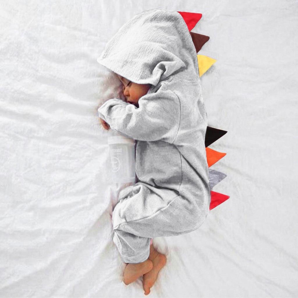 Забавная одежда для малышей, комбинезон с длинными рукавами и капюшоном в стиле динозавра для мальчиков и девочек, Детский костюм @ 45