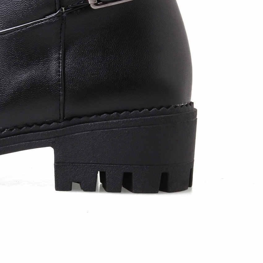 ESVEVA 2020 rahat yuvarlak ayak kare topuk diz yüksek çizmeler PU deri toka fermuar Antiskid sonbahar kış kadın ayakkabı boyutu 34-43