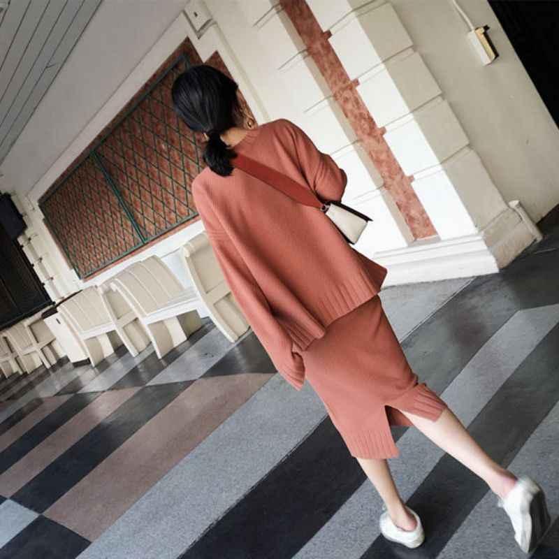 Корейский стиль, женский свитер, юбка, наборы, теплые модные вязаные костюмы с длинными рукавами, водолазка, повседневные костюмы из двух предметов, наряды
