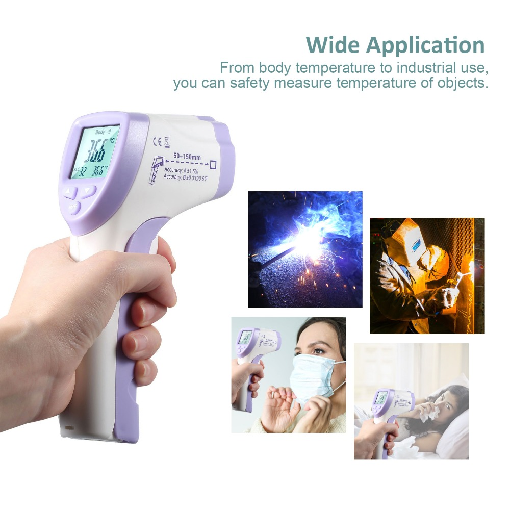 In Stock Thermometer Infrared Digital Non-contact Forehead Infrared Thermometer Baby Adult LCD Backlight Termometro Infravermelh