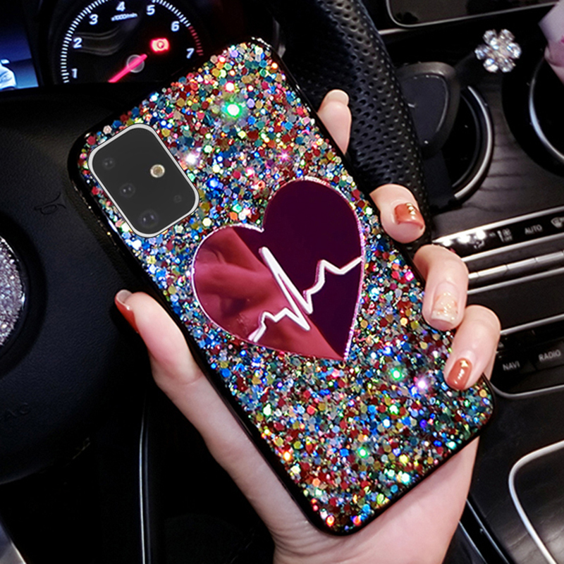 3D Love Mirror Sequins Phone Case For Samsung Galaxy A50 A10 A20 A30 A40 A60 A70 A80 A10S A50S A70S A51 A71 A81 M10 M20 M30 M40