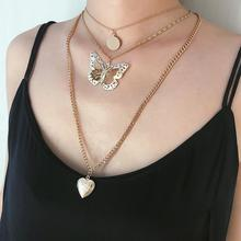 Three-dimensional round piece pendant necklace female butterfly hollow heart opening multi-layer