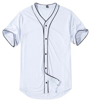 цена на Harajuku Solid Baseball Jersey T Shirt Short Sleeve Street Hip Hop Baseball Top Shirts Button Cardigan Black White Sport Shirt