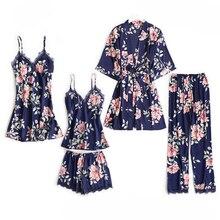 5 Stuks Pyjama Slaap Set Vrouwen Nachtkleding V hals Kant Nachtkleding Sexy Nachtjapon Badjas Dragen Thuis Pak Neglige Lente Robe Gown