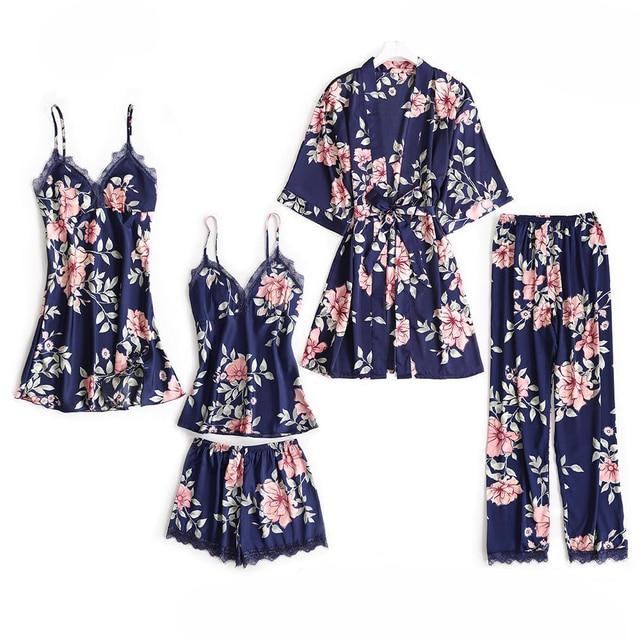 5PCS Pajamas Sleep Set Women Nightwear V Neck Lace Sleepwear Sexy Nightie Bathrobe Wear Home Suit Negligee Spring Robe Gown