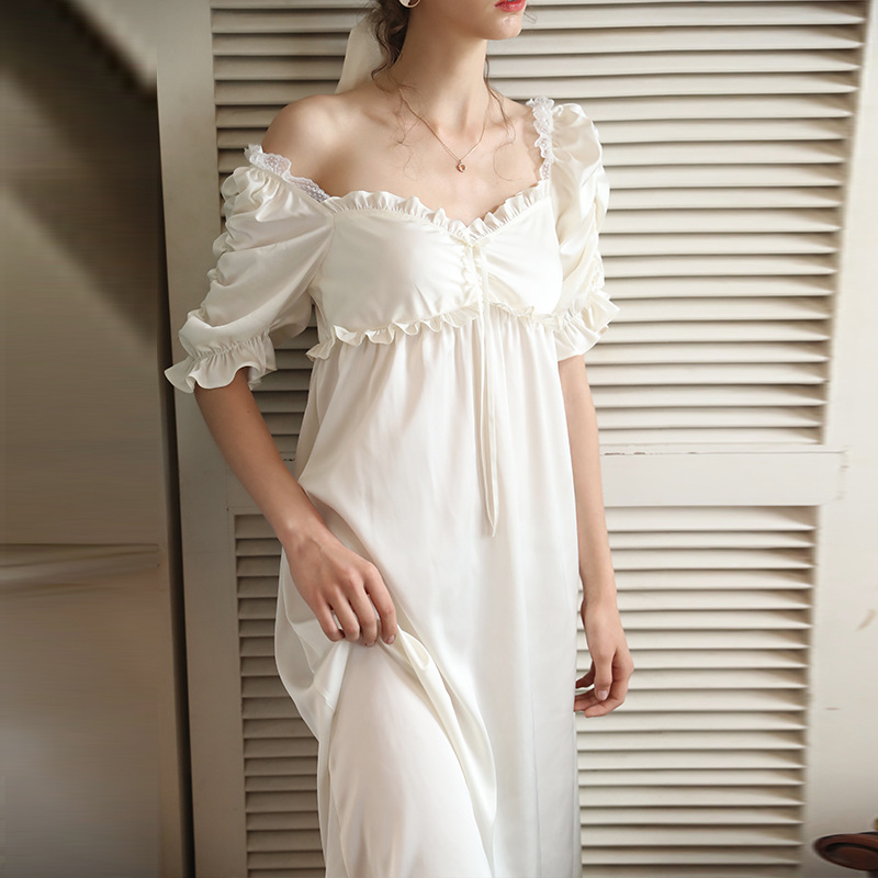 Ice pajamas women's ice thin short sleeve silk princess style nightdress sexy home clothes can be worn out in summer