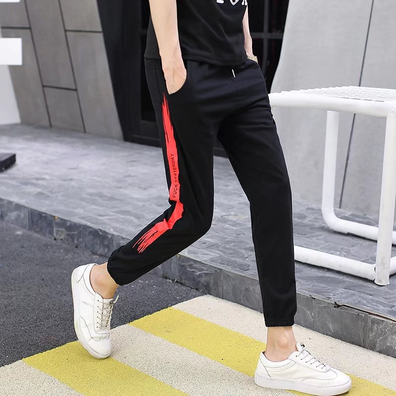 2018 Summer New Style Men Fashion Japanese-style Beam Leg Trend Capri Pants Teenager Casual Cool Splash-Ink Pants
