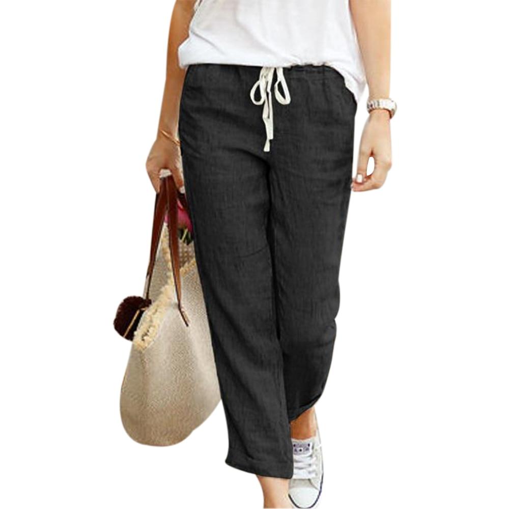 Shujin Pantalones Bombachos De Lino Para Mujer Pantalon Informal De Talla Grande S Xl Negro Azul Caqui Para Primavera Y Verano 2020 Pantalones Y Pantalones Capri Aliexpress