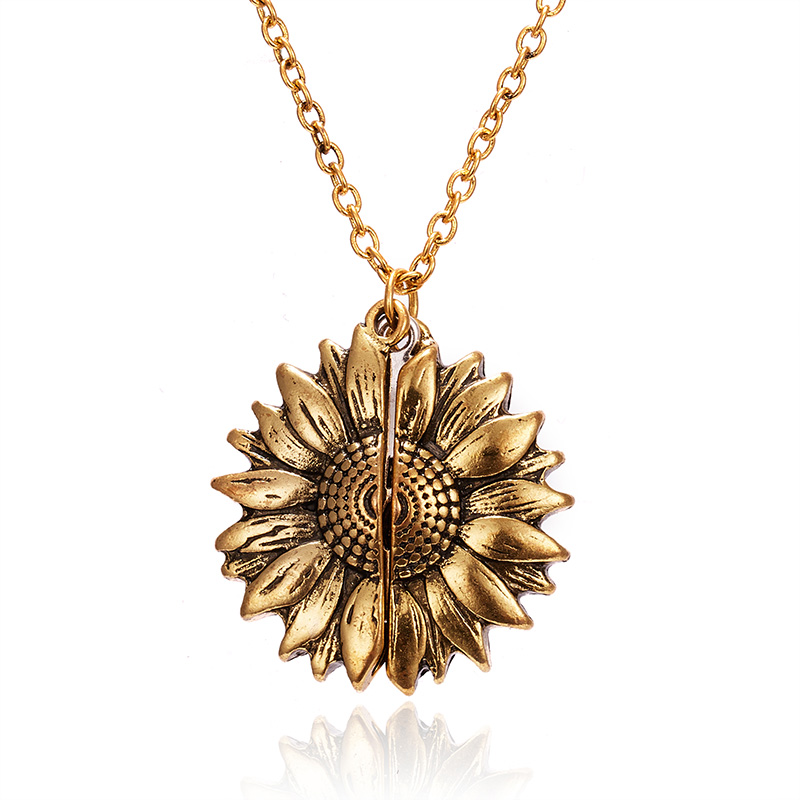 2019 New Gold Necklaces Women Fashion Jewelry Letter Engraved Open Locket Sunflower Pendant Necklaces Women Girl Birthday Gift 2