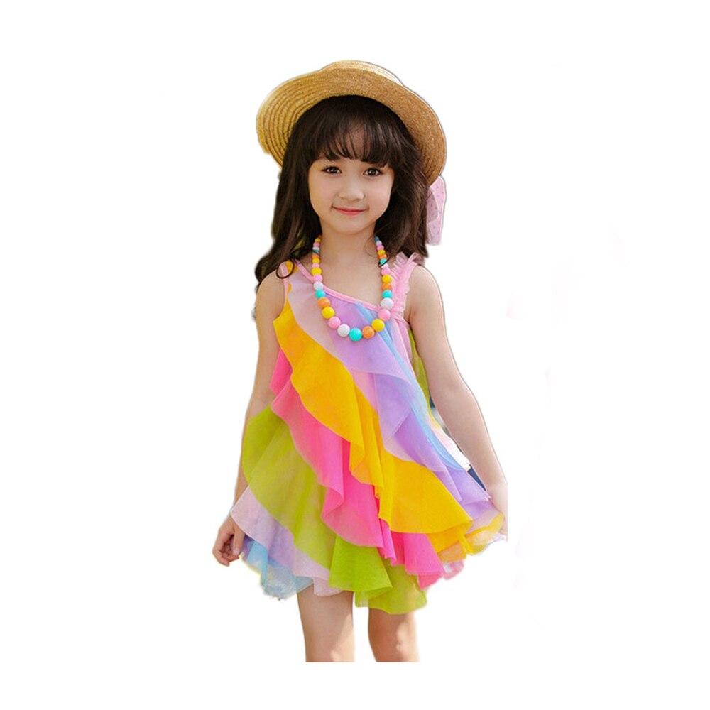 v-tree sommer 2020 kleider für mädchen mode kinder regenbogen kleid spitze  kinder kleider für mädchen baby sommerkleid