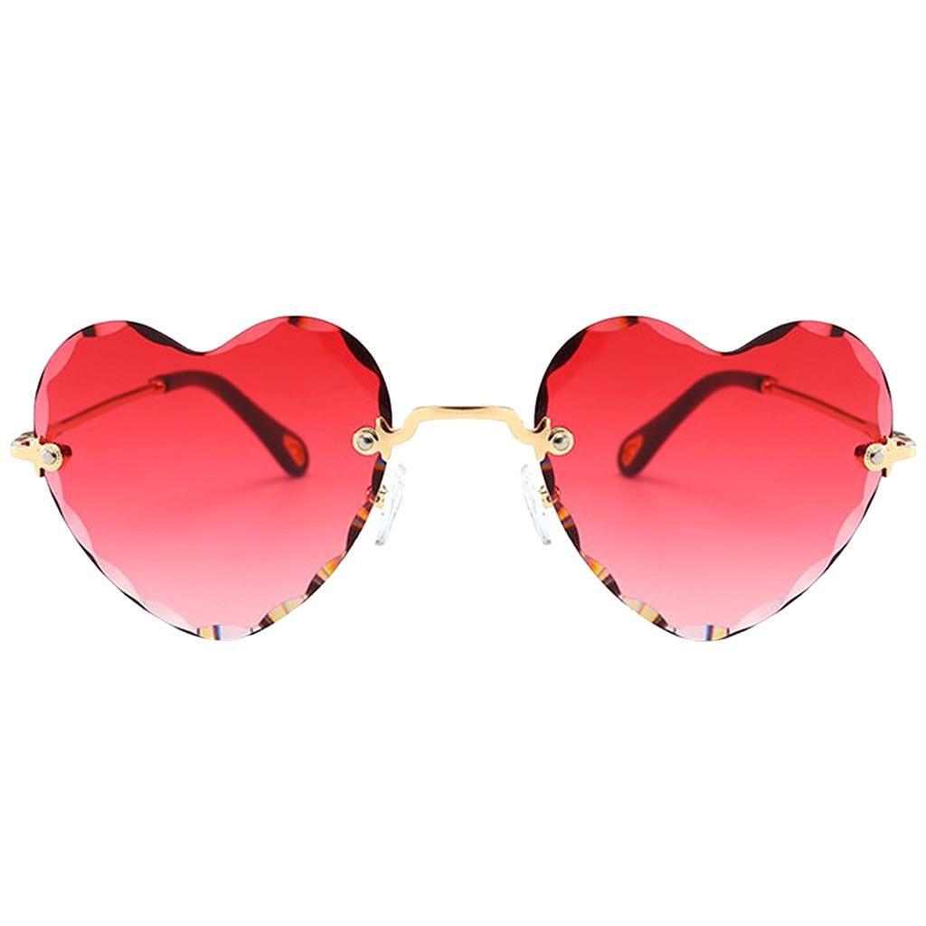 Heart Shaped Sunglasses Thin Metal Frame UV Protection Sun Glasses for Women
