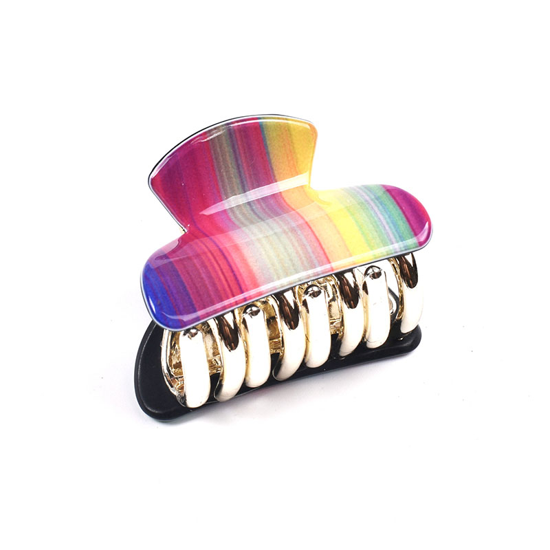Acrylic Plastic Rainbow Small Hair Claw for Women Girls Fashion Gold Crab For Hair Tins Clamps Hair Accessories 4cm 11002