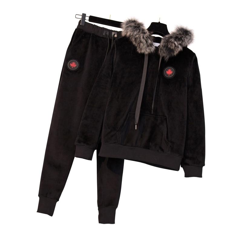Large Plus Size Women's Winter Warm Sports Suit Fashion Hooded Sweater+pant Two Piece Set Top And Pant Suit Velvet Sportwear