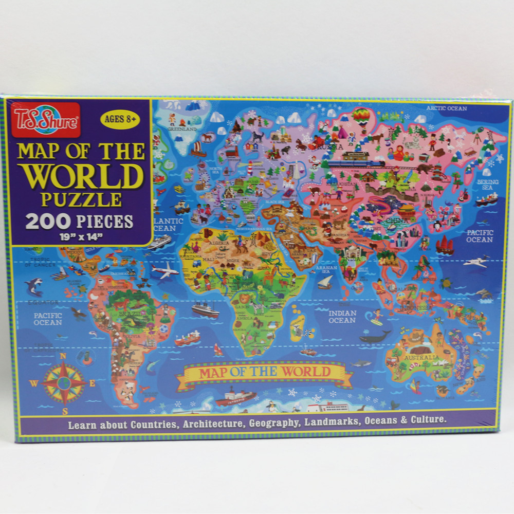200pcs United States World Map Jigsaw Puzzle Animals World Paper Puzzles Adult Decompression Games Kid Children Educational Toys 7
