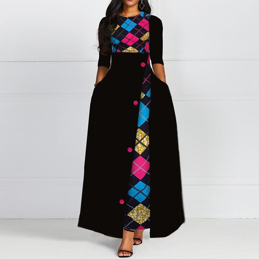 Summer Half Sleeve Female Ladies Office Dresses 2020 African Femme Vestiods Retro Color Block Vintage A Line Women Maxi Dress