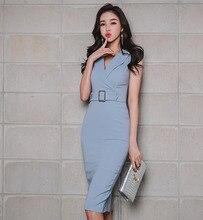 Verão ol feminino elegante escritório senhora coreano vestido com cinto vestido casual magro trabalho básico