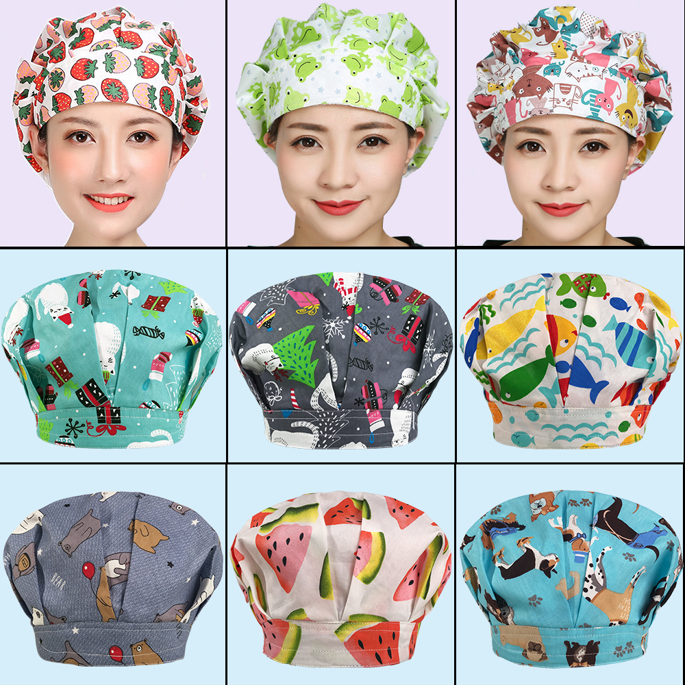 17 Colors New Print Chef Caps Cafe Bar Waiter Dust Cap Restaurant Hotel Workers Cook Baking Cap Men Women Breathable Chefs Hat
