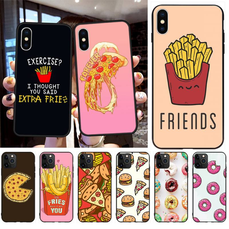 Pizza French fries Doughnut food black Phone Case Hull for iphone 12 pro max 11 pro XS MAX 8 7 6 6S Plus X 5S SE 2020 XR case
