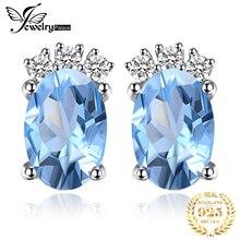 JewelryPalace классический 1ct Овальный натуральный голубой топаз серьги твердые стерлингового серебра 925 изящных ювелирных изделий для женщин аксессуары