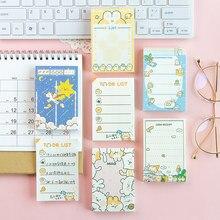 100 arkuszy Cute cartoon jednorożec kot kartki samoprzylepne notatnik pamiętnik stacjonarne post it notatnik dekoracyjne do zrobienia list N razy lepkie