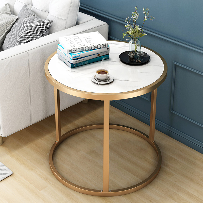 Nordic Marbled Grain Tea Table Living Room Simple Modern Small Round Table Type Side Corner Several Light Luxury Bedside Table