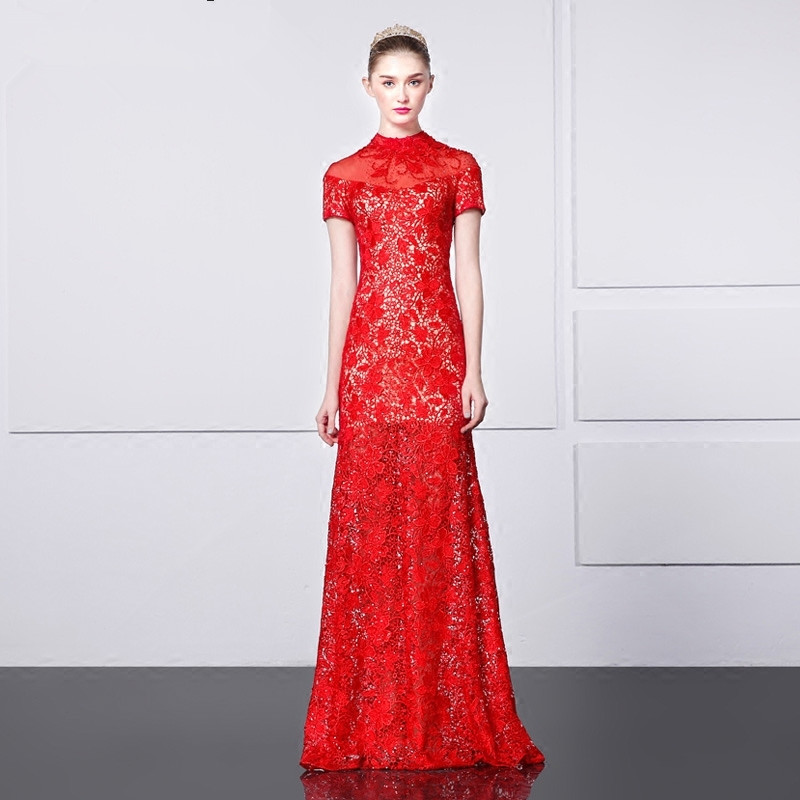 Robe De Soiree 2018 Long Beading Vestido De Festa Red Lace Evening Elegant High Neck Short Sleeve Mother Of The Bride Dresses