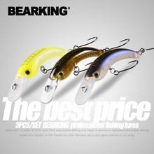 Bearking 3 pçs por conjunto 29mm 42mm isca de pesca truta mini crankbait wobbler pesca equipamento minnow manivela artificial isca dura