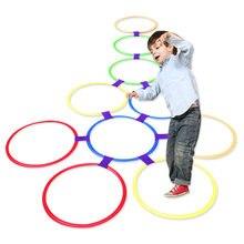 Outdoor Kids zabawny trening fizyczny zabawki sportowe krata skok zestaw pierścieni gra z 10 obręczami 10 złącz dla Park Play Boys Girls