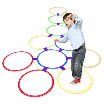 Outdoor Kids zabawny trening fizyczny zabawki sportowe krata skok zestaw pierścieni gra z 10 obręczami 10 złącz dla Park Play Boys Girls tanie i dobre opinie CN (pochodzenie) Z tworzywa sztucznego Not Eat Do rozwijania umiejętności chwytania poruszania się 28 38 48cm Fingerprint Footprint