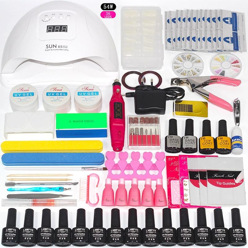 Nail Kit 54/48/36W UV Lamp 14 Color Soak Off Gel Nail Top Coat Gel Nail Polish Kit Manicure Set Electric Manicure Handle Kit