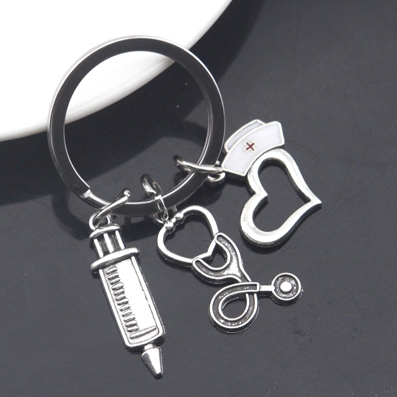 Personalized Gift Silver Syringe Charm Keychain N1593 Stethoscope Charm Keychain Medical School Gift Phlebotomy Phlebotomist Gift